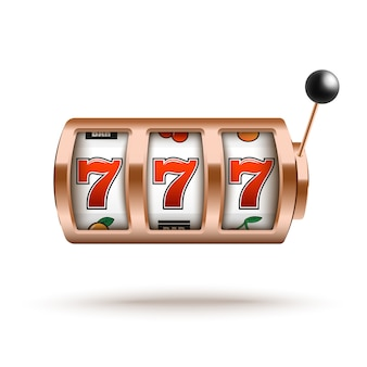 Bronze slot machine with lucky combination of three sevens in realistic style