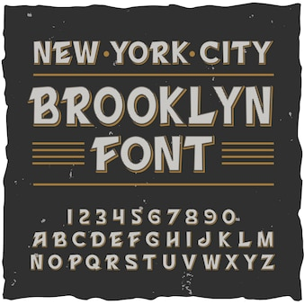 Brooklyn alphabet with square frame and vintage typeface with lines digits and letters