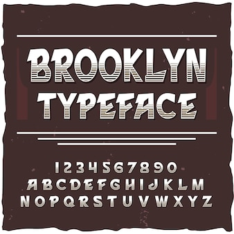 Alfabeto di brooklyn con cornice quadrata e carattere tipografico vintage con linee, cifre e lettere