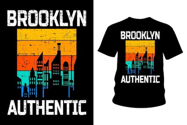 Дизайн типографии футболки с аутентичным текстом brooklyn