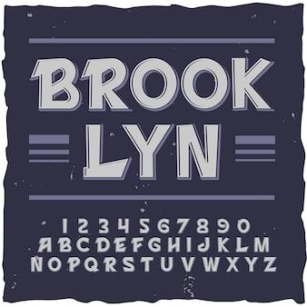 Sfondo di brooklyn con cornice quadrata e carattere tipografico vintage con illustrazione di lettere e cifre di linee