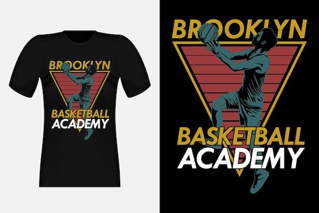 Brooklyn basketball academy silhouette vintage t-shirt design