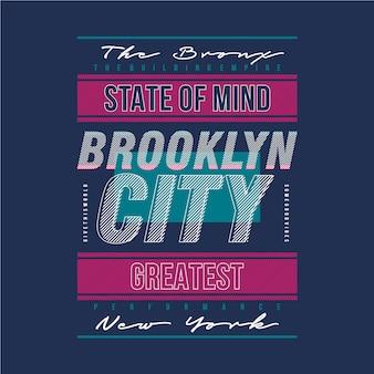 Бруклин сити современная линия графический типография дизайн футболка
