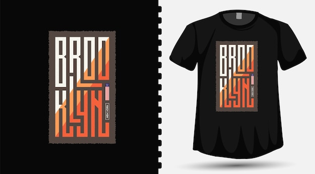Brooklyn county new york city trendy typography lettering vertical design template for print t shirt fashion clothing and poster