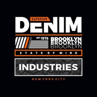Бруклинский дизайн джинсовой футболки премиум векторы