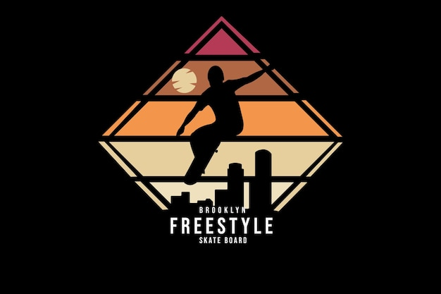 Brooklyn freestyle skateboard color orange and red
