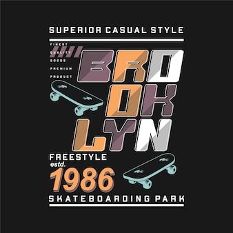 브루클린 자유형 타이포그래피 추상 그래픽 디자인 패션 티셔츠 벡터