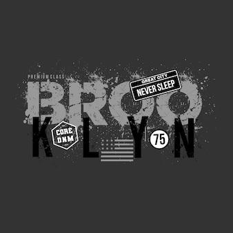 T 셔츠 디자인을 위한 브루클린 그래픽 타이포그래피 premium vector