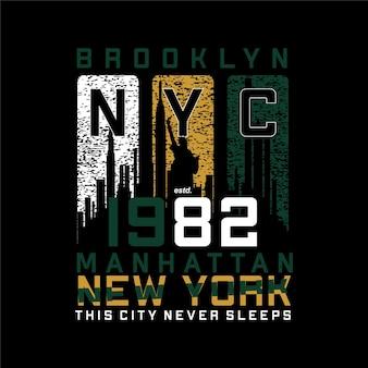 브루클린 뉴욕시 추상 그래픽 티셔츠 디자인 타이포그래피 벡터 일러스트 레이션