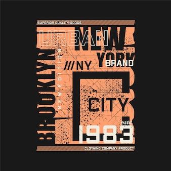 브루클린 뉴욕시 평면 디자인 추상 그래픽 티셔츠 타이포그래피 벡터