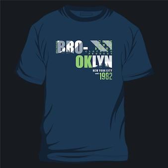 브루클린 뉴욕시 그래픽 티셔츠 디자인 타이포그래피 벡터 일러스트 캐주얼 스타일