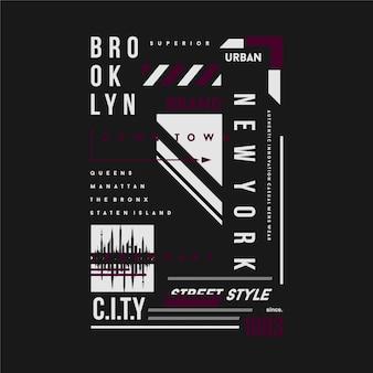 브루클린 뉴욕시 그래픽 티셔츠 텍스트 프레임 디자인 타이포그래피