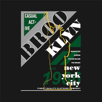 브루클린 뉴욕시 그래픽 티셔츠 타이포그래피 벡터 일러스트 레이 션 캐주얼 활성