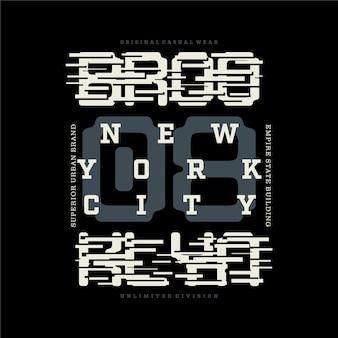 브루클린 뉴욕시 레터링 줄무늬 그래픽 티셔츠 디자인 타이포그래피