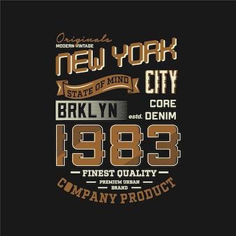 브루클린 뉴욕 시티 문자 쓰기 상징 그래픽 티셔츠 디자인 인쇄술