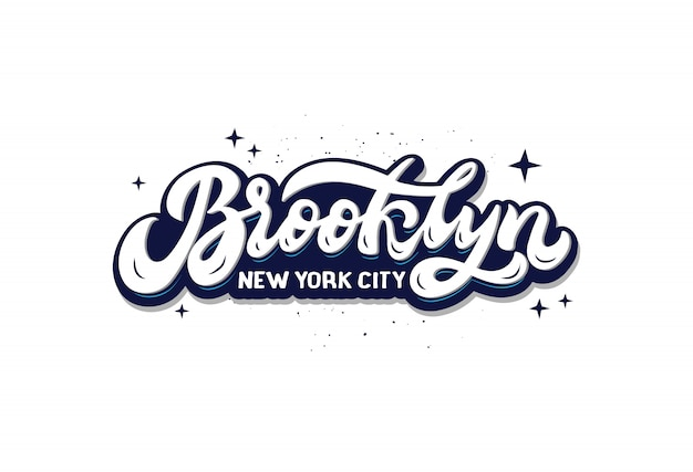 Brooklyn new york city logo. hand drawn lettering composition isolated. handwritten sticker.