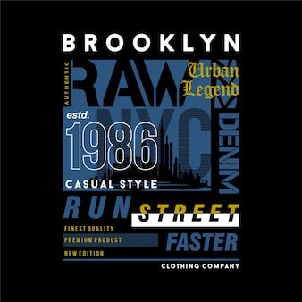 브루클린 뉴욕시 텍스트 프레임 그래픽 데님 티셔츠 인쇄술 벡터 일러스트 레이션