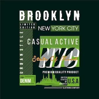 브루클린 뉴욕시 텍스트 프레임 그래픽 티셔츠 디자인 타이포그래피 벡터 일러스트 레이션
