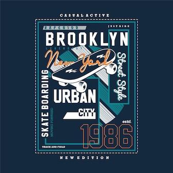 브루클린 뉴욕시 텍스트 프레임 그래픽 티셔츠 인쇄술 벡터 일러스트 레이션