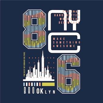 ブルックリン、ニューヨーク市タイポグラフィグラフィックベクトル