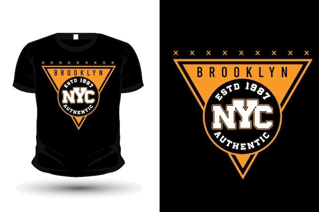 브루클린 뉴욕시 타이포그래피 모형 티셔츠 디자인
