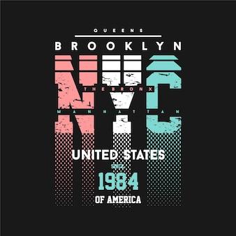 브루클린 뉴욕시 미국 그래픽 타이포그래피 티셔츠 디자인 캐주얼 스타일 스포팅