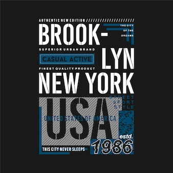 Brooklyn new york city usa graphic t shirt text frame typography vector illustration
