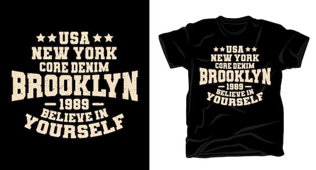 Дизайн футболки с джинсовой типографикой brooklyn new york core