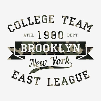 Brooklyn, new york. design clothes with camouflage, t-shirts. sports graphics with number for print. vector illustration.