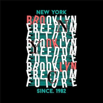 ブルックリンニューヨークストライプ抽象的なタイポグラフィtシャツイラスト