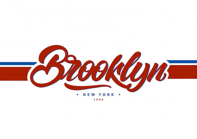 Brooklyn, new york typography in college style.