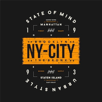 Brooklyn, ny city text frame graphic typography  illustration for print t shirt