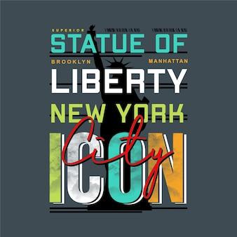 브루클린 뉴욕 리버티 그래픽 타이포그래피 티셔츠 디자인 일러스트 캐주얼 스타일 프리미엄 벡터