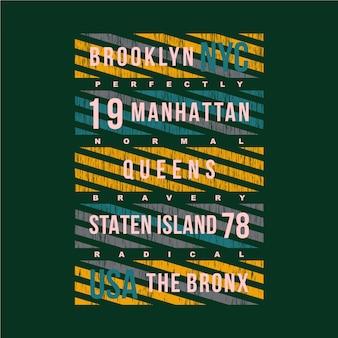 ブルックリンニューヨークテキストグラフィックタイポグラフィ図