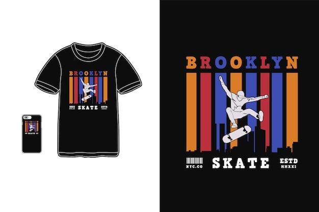 T 셔츠 실루엣 복고풍 스타일의 브루클린 스케이트 디자인