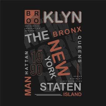 ブルックリンテキストフレームグラフィックtシャツクールなタイポグラフィイラスト