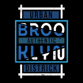 ブルックリンテキストフレームtシャツタイポグラフィデザイン Premiumベクター