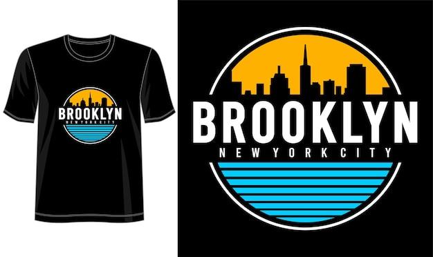 프린트 티셔츠 등을위한 브루클린 타이포그래피 디자인