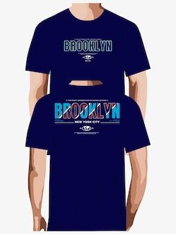 Tshirt 프리미엄 벡터를 위한 브루클린 타이포그래피 디자인
