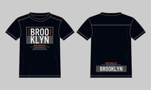 브루클린 타이 포 그래피 t 셔츠 디자인 일러스트 레이 션 premium 벡터