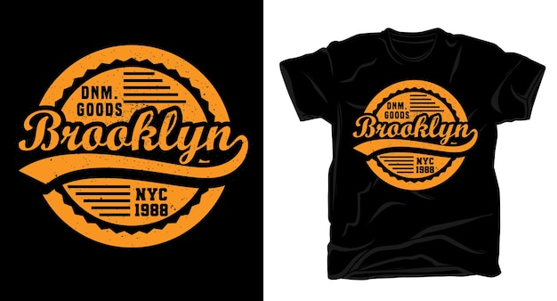 Бруклин типография старинный дизайн футболки