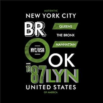 브루클린, 미국. 추상 텍스처 그래픽 t 셔츠 디자인 타이포그래피