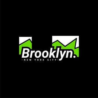 스크린 인쇄 티셔츠, 옷, 재킷 및 기타에 적합한 브루클린 쓰기 디자인