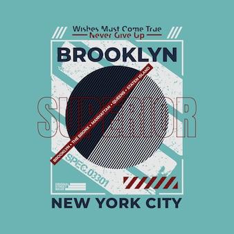 브루클린 뉴욕시 인쇄술 벡터 t 셔츠 디자인 일러스트 레이 션 premium 벡터