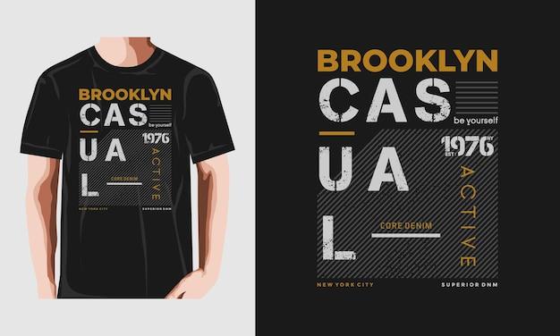 브루클린 셔츠 인쇄 술 디자인 프리미엄 벡터