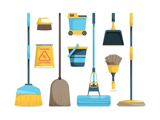 ほうきコレクション。床の家の衛生漫画の写真のための家庭用機器のモップとほうき