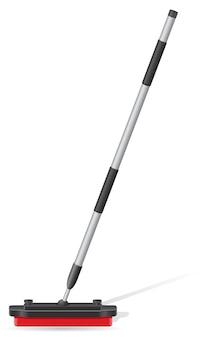 Broom for curling sport game vector illustration