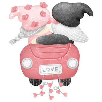 The broom kisses the bride and drives a car with love