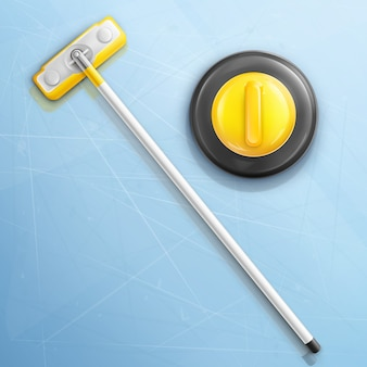 Broom and stone for curling sport game