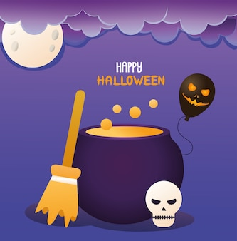 Broom witch and cauldron halloween icon